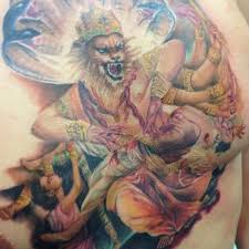 narasimha hindu god beautiful by ink in