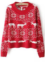 deer geometric print neck acrylic sweater sweaters tops