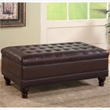 Ottoman Price Coaster Brown Traditional Oversized Faux Leather Storage