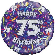 balloon delivery uk happy 75th birthday purple streamers balloon delivered inflated in