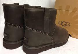 s ugg australia mini leather boots ugg australia mini stitch stout brown waterproof