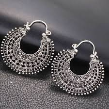 hoops earrings india hoop earrings ethnic tribal aztec hippy boho dangle indian silver