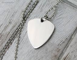 Engraved Guitar Pick Necklace Engraved Guitar Pick Necklace Custom Initials Stainless