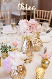 Gold Centerpiece Vases Gold Galvanized Vases With Blush Peonies Centerpieces Butterfly
