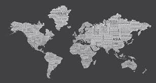 World Map Wall Decal by 1 World Text Map Wall Mural Inverse Grey