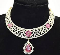 color diamond necklace images Pinky 39 s collection stylish necklace set gold plated ad seeded jpeg