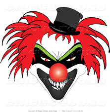 circus clipart of a scary red haired clown with sharp teeth a red