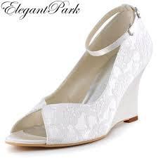 wedding shoes ankle woman wedge shoes white ivory high heel peep toe ankle lace