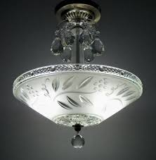 Vintage Glass Chandelier Art Deco Ceiling Light Shade Art Deco Lighting Vintage Light