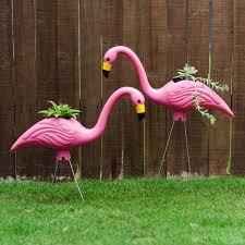 diy plastic pink flamingo planters