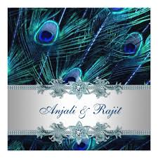 wedding invitations blue blue and emerald peacock indian wedding invitation multiculturally wed