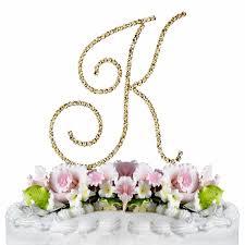 k cake topper swarovski wedding cake topper gold letter k