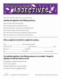 adjectives worksheets 4th grade worksheets
