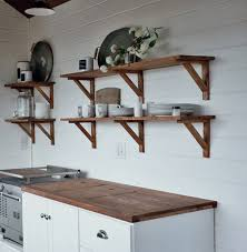 Free Wooden Shelf Bracket Plans by Ana White Open Kitchen Cabinet Shelving Rustic Cottage Farmhouse
