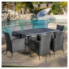 Dining Chairs With Cushions Malta 7pc Wicker Patio Dining Set With Cushions Gray