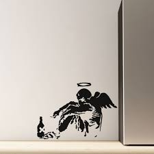 banksy wall sticker in fallen angel design cuckooland banksy fallen angel wall sticker home decor art