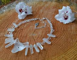 fairy crystal necklace images Rock crystal wolf necklace with raw quartz icicles and clear jpg