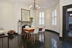 Dining Room With Metal Fireplace  French Doors In Boston MA - Dining room with french doors