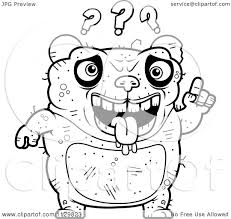 cartoon clipart of an outlined confused ugly panda black and