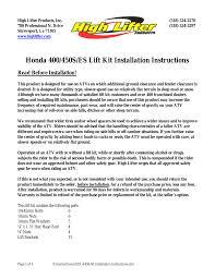 high lifter lift kit for honda foreman 450 98 01 user manual 9