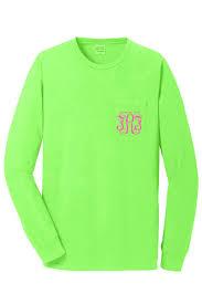 Long Sleeve Comfort Colors Monogram Long Sleeve Neon Green Pocket Tee In Comfort Colors