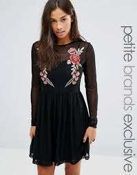 glamorous clothing glamorous mesh skater dress with floral embroidery fall