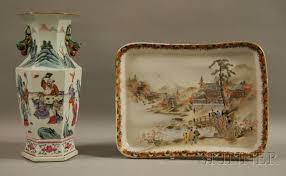 Japanese Kutani Vases Chinese Hexagonal Famille Rose Porcelain Vase And A Japanese