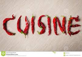 word for cuisine cuisine word with dried chili pepper stock illustration