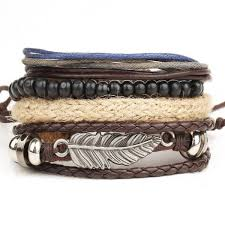 multi leather bracelet images 4pcs leather bracelet men 39 s multi layer bead bracelet retro punk jpg