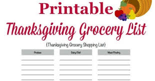 printable thanksgiving grocery list shopping list