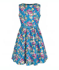 vintage style mini audrey turquoise floral dress kids vintage