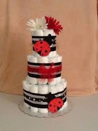 3 tier diaper cake modern lady bug fancy red baby shower