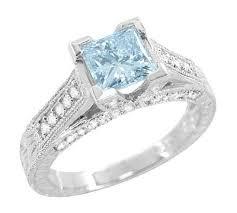 aquamarine diamond ring x o kisses 1 carat princess cut aquamarine engagement ring in