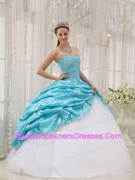 aqua blue quinceanera dresses beading gown sweetheart aqua blue and white 193 01