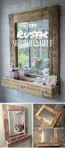 diy rustic mirror shelf