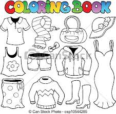 vector coloring book clothes theme 1 vector illustration