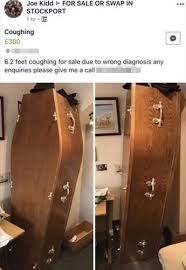 coffin for sale who bought his own coffin after a fortune teller told him he