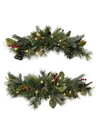 christmas swags for outdoor lights christmas swag windsor pre lit window swags set of 2