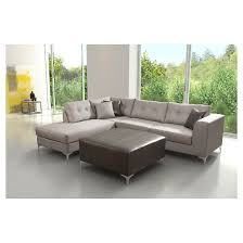 sofas and sectionals com upholstered and polished stainless steel 2 pc rhf sectional sofa
