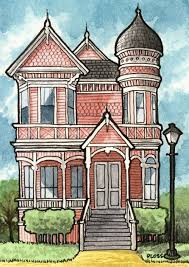 drawing home victorian house by gene ploss on etsy painting drawing ideas