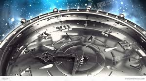 silver clock and spinning galaxy stock animation 2023707