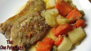 the one pot chef show slow cooked smothered pork chops recipe