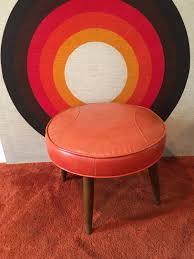 Vinyl Orange Ottoman Mid Century Modern Ottoman Vinyl Footstool Vinyl Footrest Mid