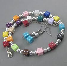 choker necklace with beads images Dice bead choker necklace earrings multicolored wear to casino jpg