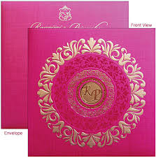 fancy indian wedding invitations pink color designer card gdc 802
