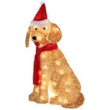 lighted dog christmas lawn ornament plush lighted golden retriever