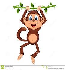 monkey cartoon in jungle swinging on vine stock vector image