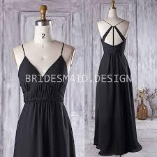 spaghetti straps v neck black chiffon vintage a line bridesmaid