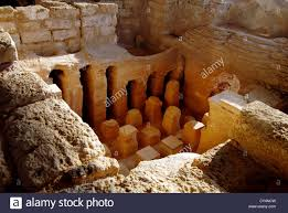 the roman bath house in ancient caesarea israel stock photo