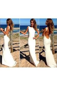 shop discount long white scoop mermaid low back prom dress